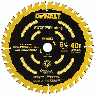 DEWALT 6-1/2 Circular Saw Blade 40T Precision Cutting Finishing Carbide DW9196