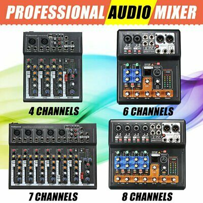 4/6/7/8 Channels Mini Console Mixer Live Studio Audio Record DJ Mixing Portable