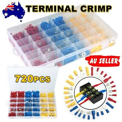 720Pc Electrical Wire Connector Assorted Insulated Crimp Terminals Spade Set AU