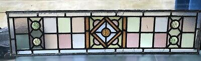 3 Antique Victorian Matching STAINED GLASS WINDOW PANEL LEADED.