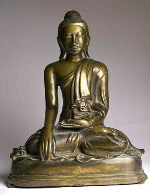 Antiker Buddha 19. Jhd Bronze 38 cm 8 kg Mandalay Burma antique ORIGINAL