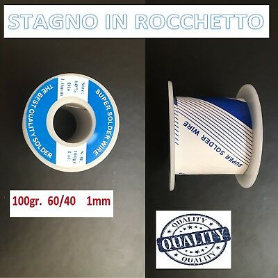 Stagno Bobina In Rocchetto Mkc 60/40 100Gr 1Mm Saldare Saldatura High Quality