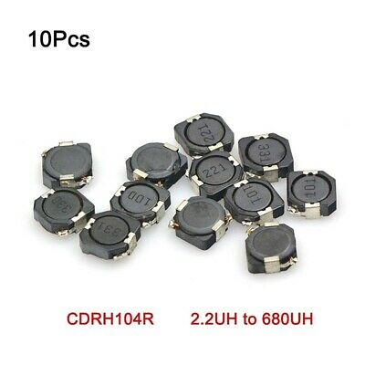 10Pcs SMD/SMT Chip Power Inductor CDRH104R Shield Inductance 2.2UH to 680UH