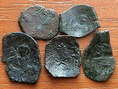 Lot of 5 Ancient Byzantine Medieval Cup Coins Unknown.