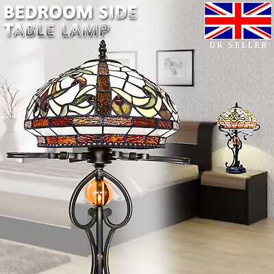 """TIFFANY Lamp Antique Style Hand crafted 16"""" shade Lamp Bed/Living Room 12"""" inch"""