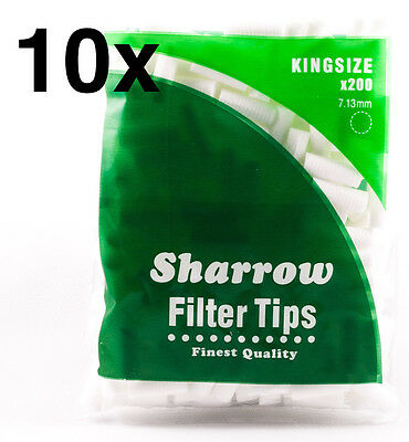 10 Sharrow Filter Tips Kingsize 10 Packets x 200 Filter Tips - New