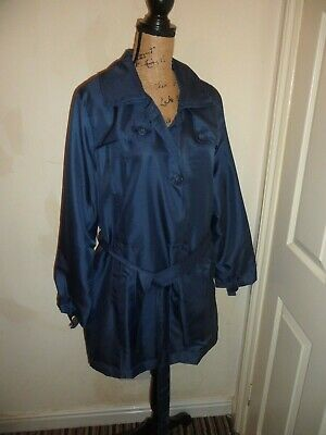 Ladies Jacket Coat Anorak Mac Navy Lined Plus Size 22 Ex Con