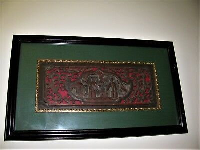 Antique Chinese Asian Carved Wood Panel
