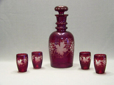 Red cut to clear glass decanter set shot glasses grapes and vnes Bohemian