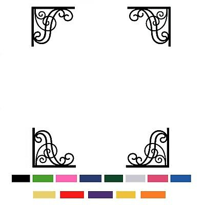 4 X Cut Vinyl Decal Stickers For Mirror Frame Corner Wall Decoration Room Art