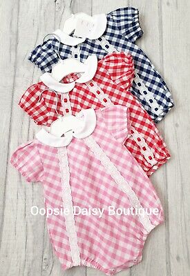 Baby Girls Checked Slotted Ribbon Cotton Rompers - Pink Navy Red ☆