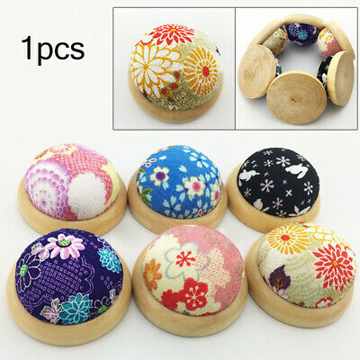 Home Wooden Base Flower Print Needle Pin Cushion Pillow Holder Sewing Craft