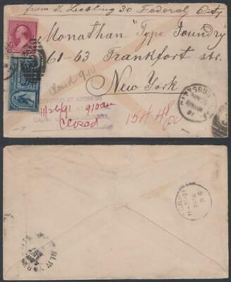 USA :25 November 1891 Special Delivery Pittsburgh to New York-Non Delivery Cache