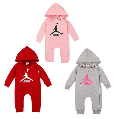 Baby Jordan Hooded Romper Babygrows Boys Girls Outfit Baby Grows Top Clothes Set