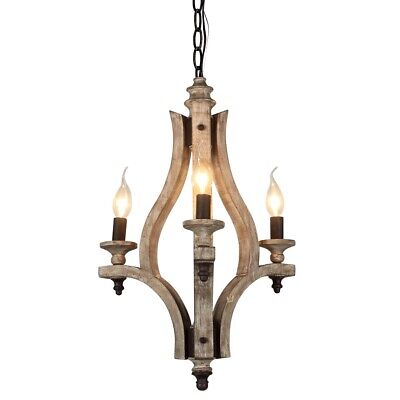 Vintage Wood Metal Chandelier Wooden Ceiling Pendant Light Bedroom Dining Lamp
