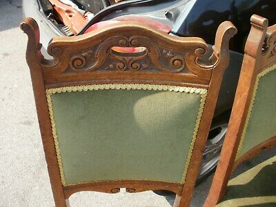 edwardian  set 4 chairs good color  look oak  carved to panel backs circa 1900s
