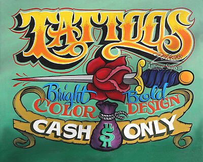 Tattoo Shop   Print Cash Only  policy art ink artist studio parlor  sailor jerry