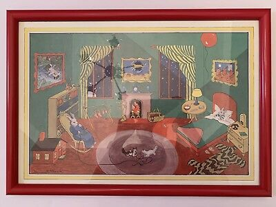 "Goodnight Moon Fine Art Print Red Frame Clement Hurd 18.75"" x 13"" Beautiful"