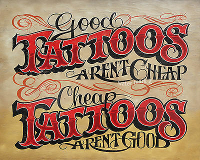 Tattoo Shop Policy  vintage  style Print ink flash  usa decor parlor business