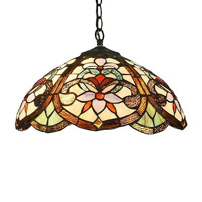 Tiffany Style Stained Glass Ceiling Pendant Light Fixture 2-Light Hanging Lamp