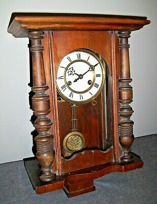 Vintage Carved Oak Cased Wall Clock with Glass Door (Key Brass Pendulum Chiming)