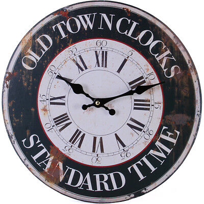 Retro Vintage Old Town Clock Design Wall Clock.new & Boxed