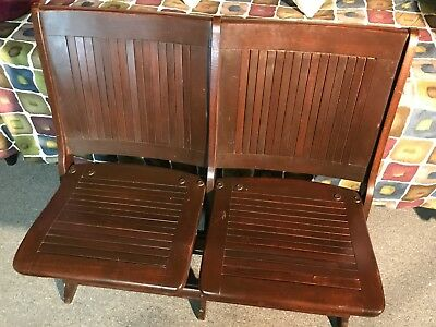 Double Antique Vintage Folding Wooden Chairs / Bench ,Theater, Train Station