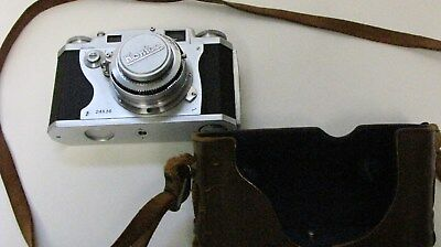 Vintage Konica II 35mm Camera w/ Hexanon 50mm f 2.8 Lens w Leather Case