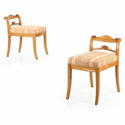 LOWBACK VINTAGE CHAIRS | Biedermeier Style Pair of Carved Birch Side Chairs