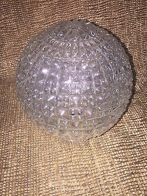 "Vintage Clear Glass Diamond Point Globe Lamp Shade 5 1/2"" D. x 6""T -opening 3"""