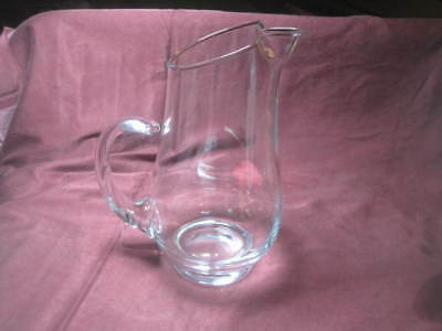 """Vintage Clear Glass Martini Pitcher 9"""" SPECTACULAR simple elegant heavy"""