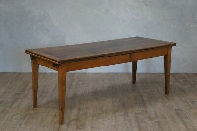 Antique Fruitwood Farmhouse Draw Leaf Refectory Table