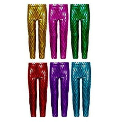 Girls Metallic Fish Scale Leggings Mermaid Kids Shiny Foil Childrens 5-13 Years