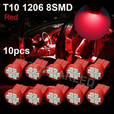 10pcs T10 1206 8SMD 3020 LED Lamp Ultra Red Car Dashboard Light bulb W5W 194 168
