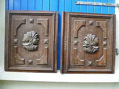Two, Antique, French, Large, Hand Carved Wooden Wall Hangings, Breton Knights