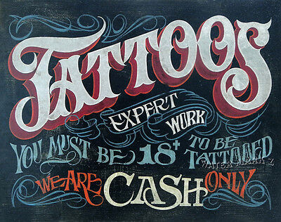 Tattoo Shop Policy Print Art Decor Vintage style Ink Flash Cash studio flash