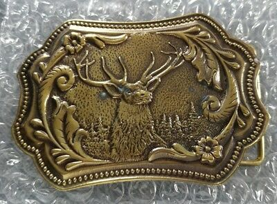 Buck Deer Floral Artwork Vintage Belt Buckle Wyoming Studio Art Works James Lind