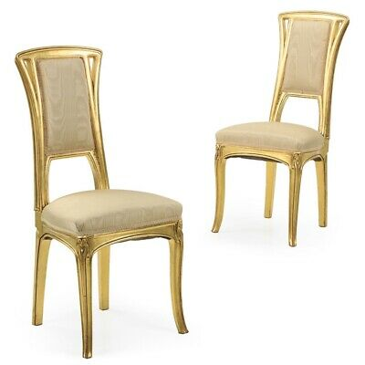 ANTIQUE SIDE CHAIRS | French Art Nouveau Pair of Carved Giltwood Chairs | 20th C