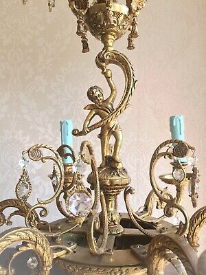 Stunning Antique French Cherub Chandelier 6 Arms Original Ornate Encrusted Cryst