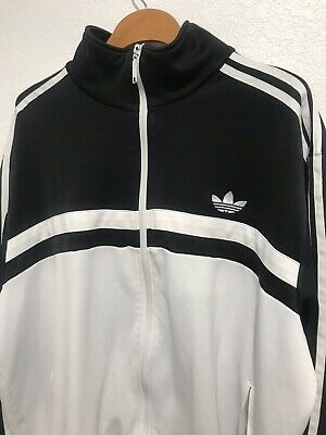 0e4a663f81b89 VTG ADIDAS TRACK JACKET MENS LARGE 80s 90s RARE BLACK/RED CUT SEW ...
