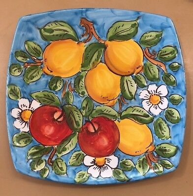 Vietri Pottery-10 inch Square Plate With Lemons.Made/Painted by hand in Italy