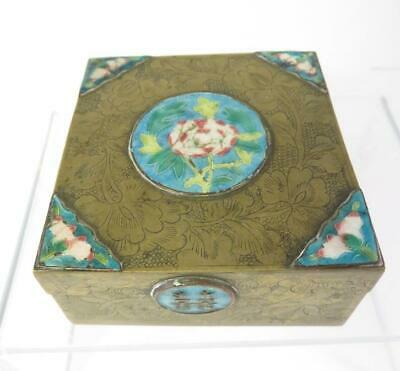 Vintage Chinese Export Enameled Brass Cigarette Box As Found