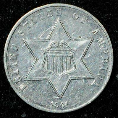 1861 Silver Three-Cent 3c:  AU, lots of clash marks