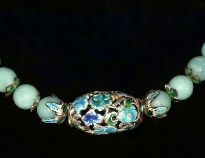 Vintage Chinese Silver Enamel Carved Flowers Focal Green-Blue Amazonite Necklace