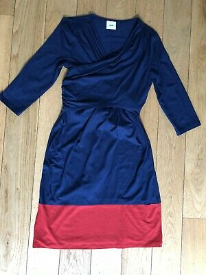 8064335143973 Mamalicious blue and red colour block maternity and nursing dress M (10)