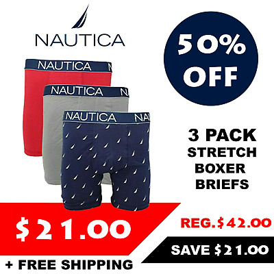 Nautica Men's 3 Pack of Solid Colour Stretch Boxer Briefs (Retail $42)