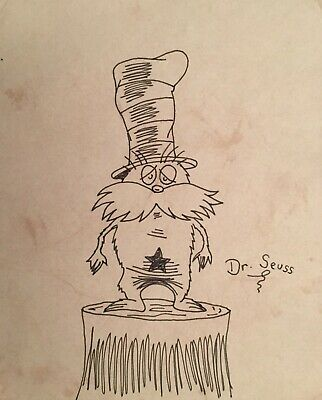 The Lorax Standing on a Tree Stump - Dr Seuss Ink drawing