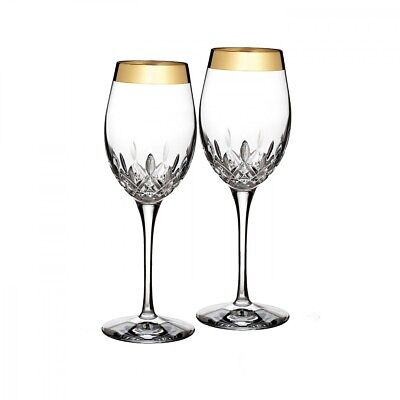Waterford Crystal Lismore Essence Gold White Wine, Pair