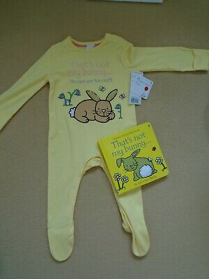 New! Thats Not My Bunny Set- Usborne Touchy Feely Book And Sleepsuit -6-9 Months