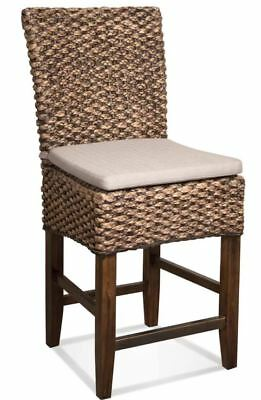 (4 chairs) Woven Seagrass Bar Stools Mahogany Wood Frame Bar Height with cushion
